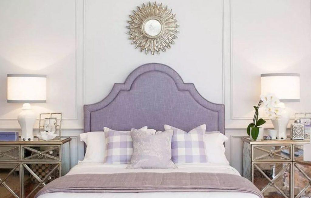 thiết kế phòng ngủ màu tím