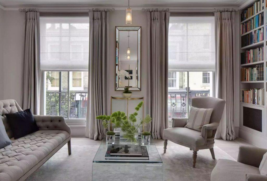 thiết kế phòng khách với màu trung tính