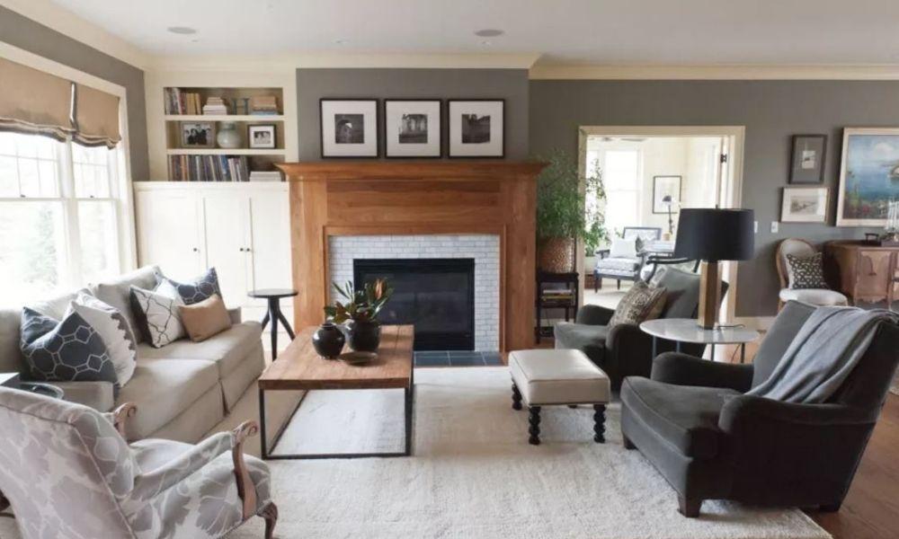 Ý tưởng thiết kế phòng khách màu xám