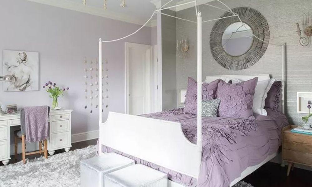 Trang trí phòng ngủ màu tím