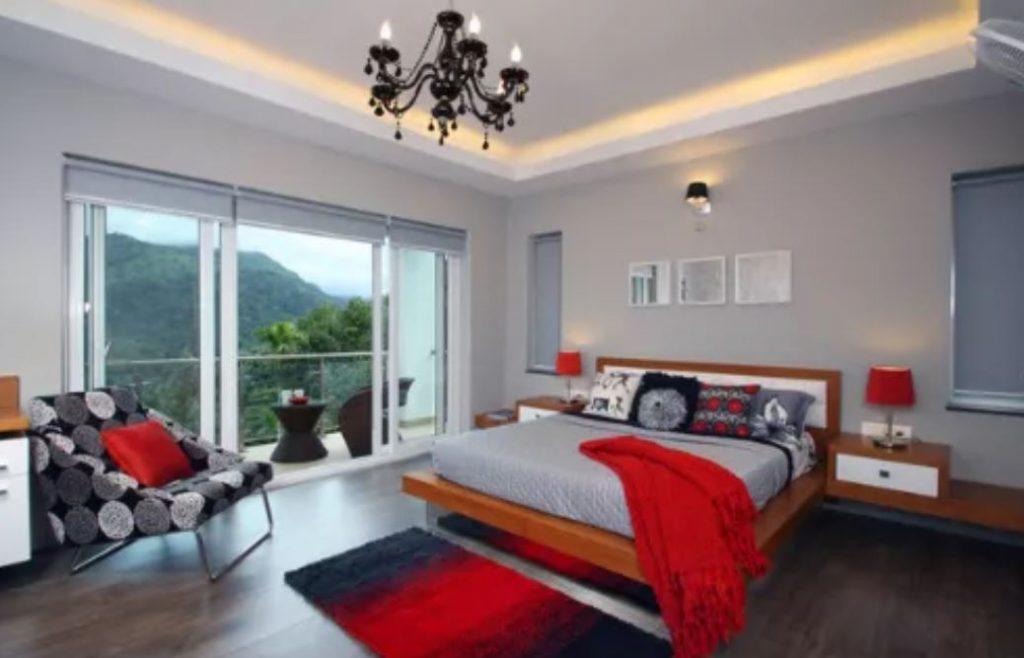 thiết kế phòng ngủ màu đỏ